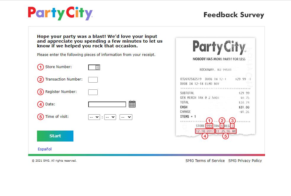 www.partycityfeedback.com survey page