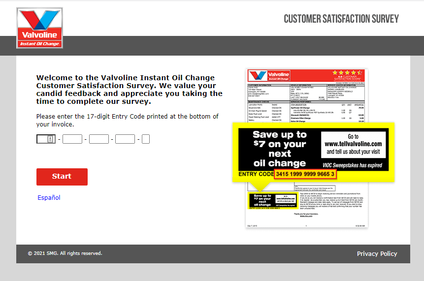 www.tellvalvoline.com survey