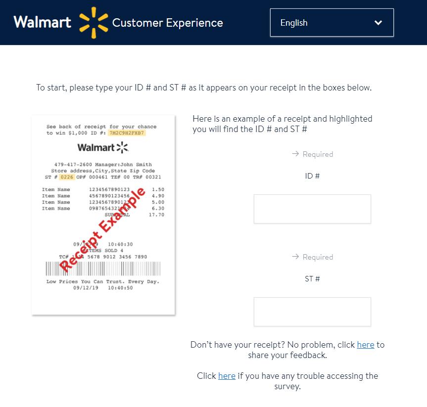 www.survey.walmart.com Instructions
